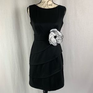 Classy Black Fitted Dress with Flower Accessory